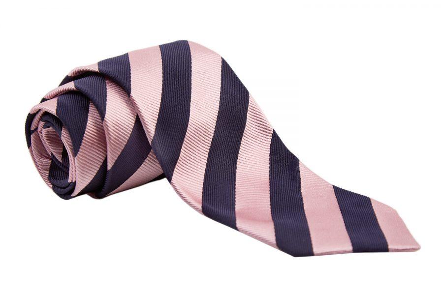 Γραβάτα μπλε με ροζ ρίγες, Μετάξι 100%
