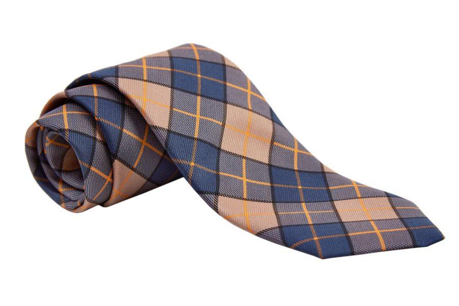 Γραβάτα μπλε με μπεζ καρό, Μετάξι 100%