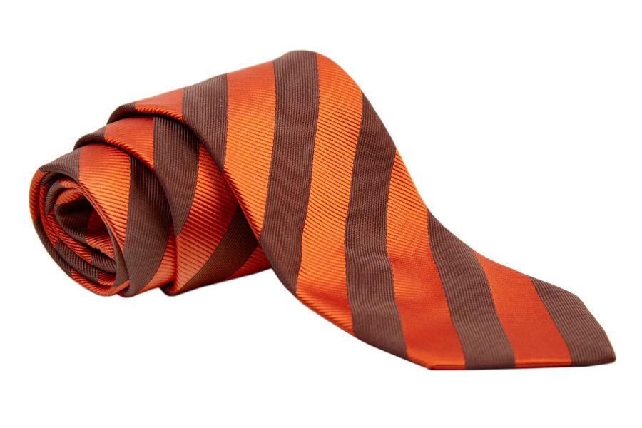 Γραβάτα με πορτοκαλί και καφέ ρίγα