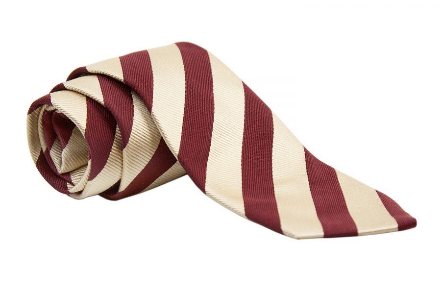 Γραβάτα με κόκκινες και κίτρινες ρίγες, Μετάξι 100%