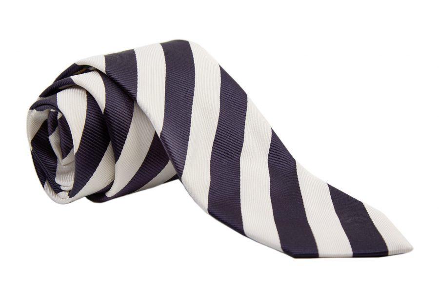 Γραβάτα με μπλε και λευκές ρίγες, Μετάξι 100%