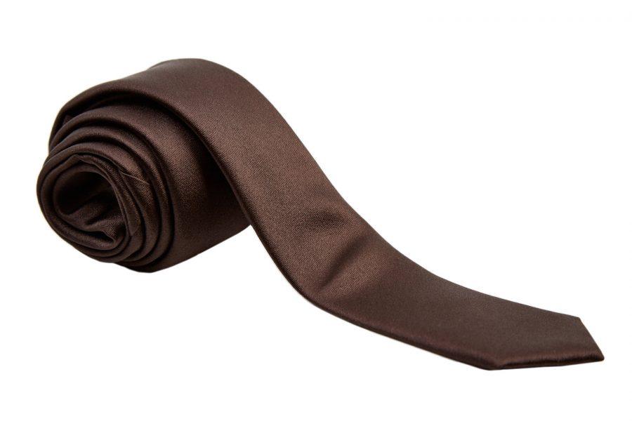 Γραβάτα σκούρο καφέ, Slim, Μετάξι 100%