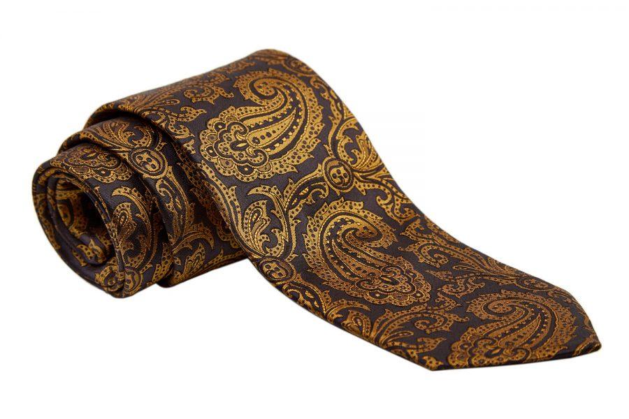 Γραβάτα μαύρη με κίτρινο λαχούρι, Μετάξι 100%