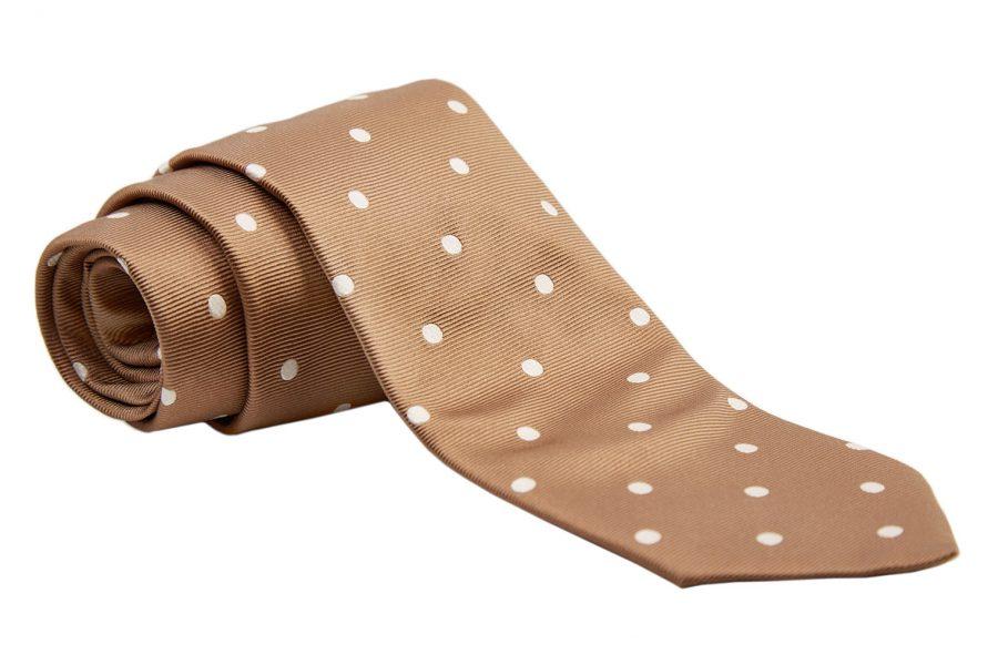 Γραβάτα μπεζ - καφέ με λευκά πουά, Μετάξι 100%