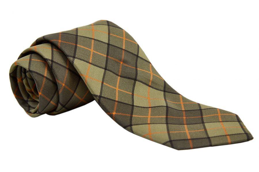 Γραβάτα λαδί με κίτρινο καρό, Μετάξι 100%