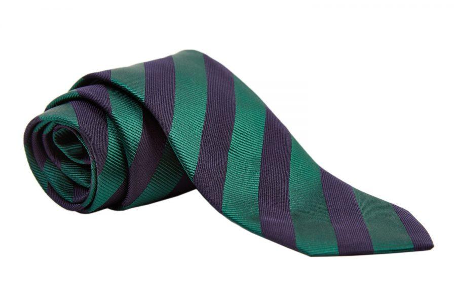 Γραβάτα με μπλε και πράσινη ρίγα, Μετάξι 100%