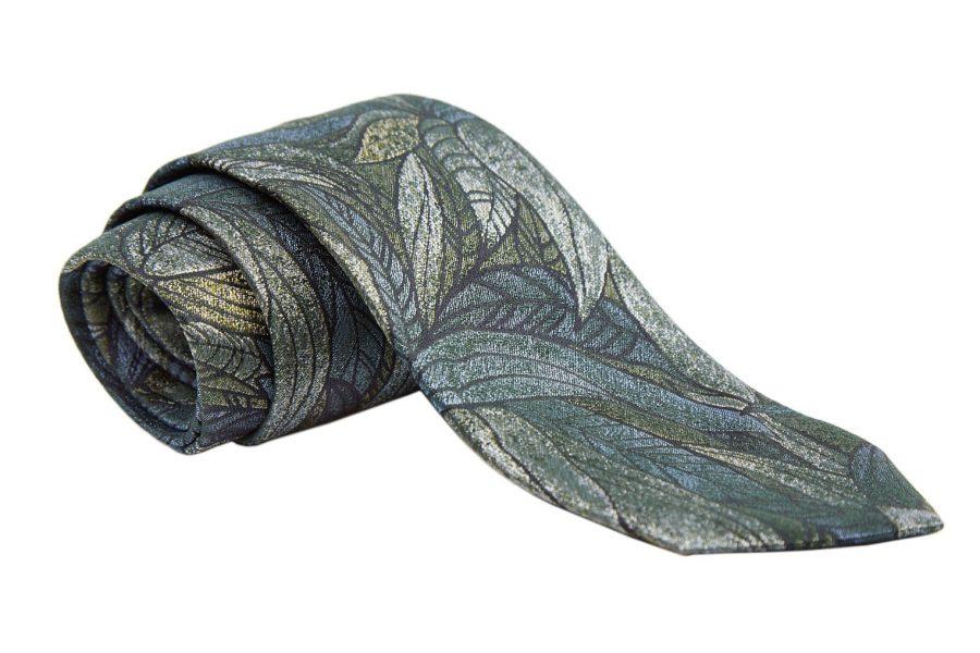 Γραβάτα λαδί με σιέλ σχέδια, Μετάξι 100%