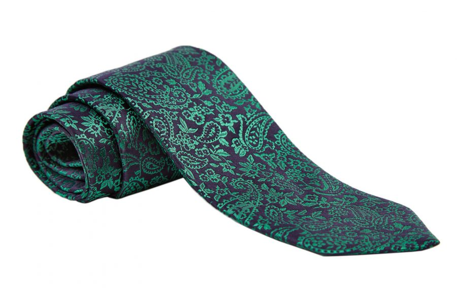 Γραβάτα μπλε σκούρο με πράσινο λαχούρι, Μετάξι 100%