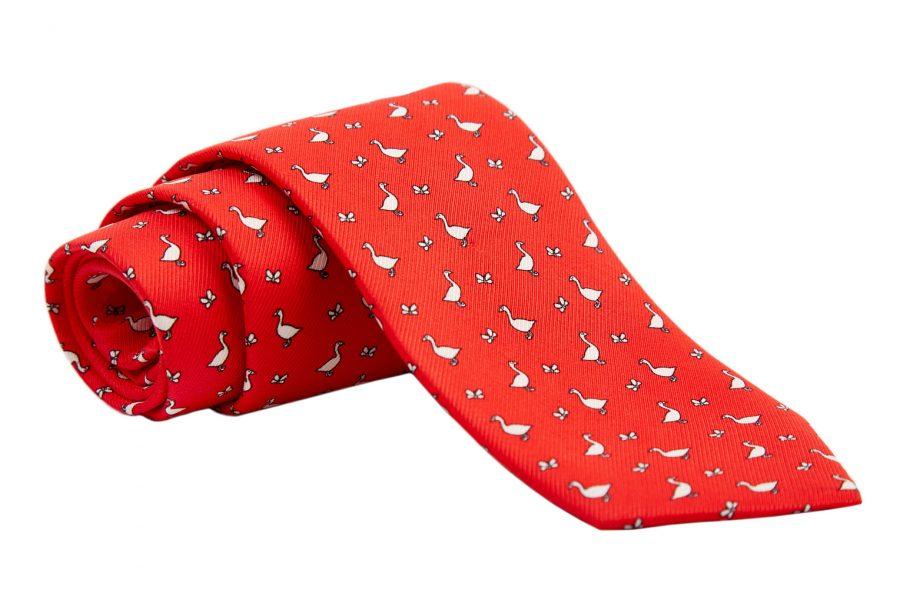 Γραβάτα κόκκινη με λευκές χήνες, Μετάξι 100%
