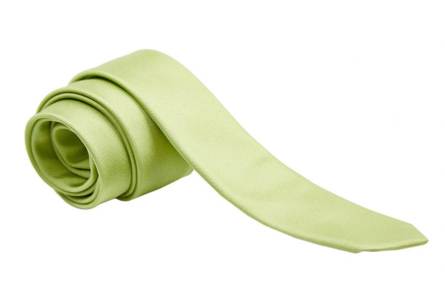 Γραβάτα λαχανί μονόχρωμη, Slim, Μετάξι 100%