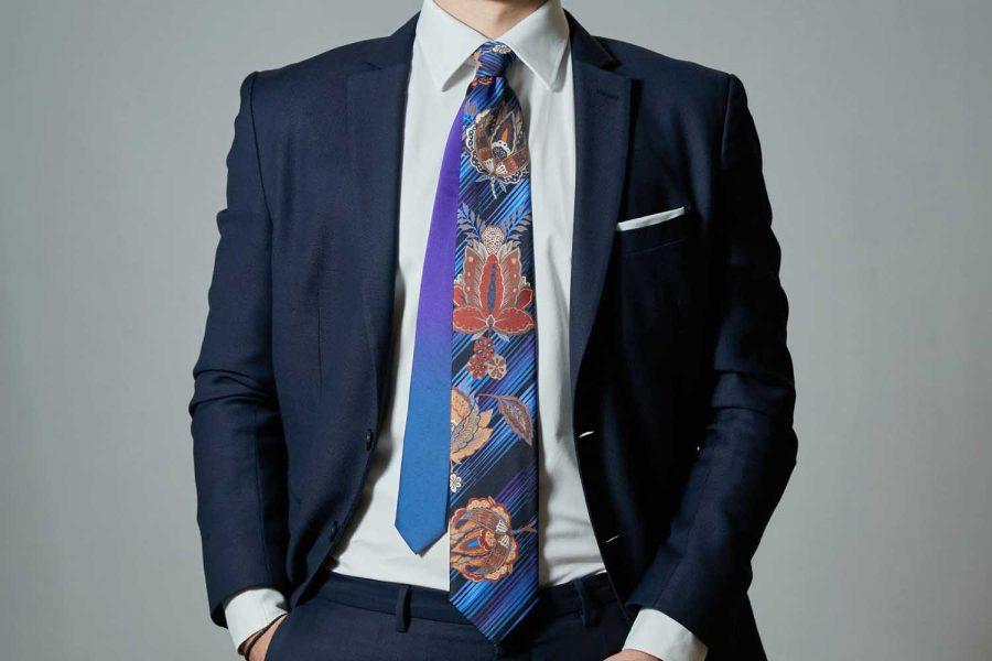Γραβάτα floral - fantasy, Double sided, Μετάξι 100%
