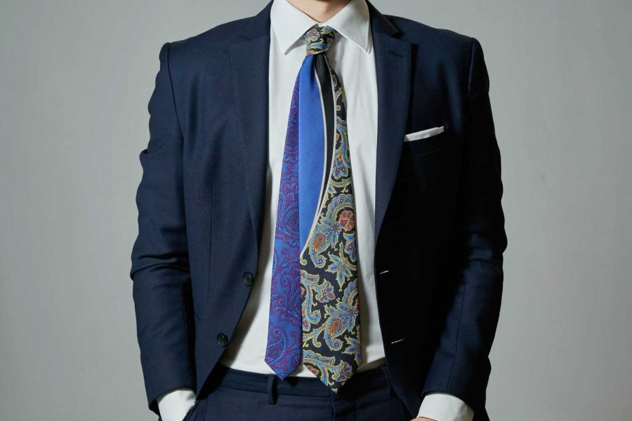 Γραβάτα floral, Double sided, Μετάξι 100%