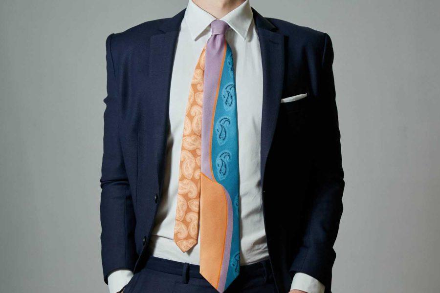 Γραβάτα πολύχρωμη με λαχούρι, Double sided, Μεταξωτή 100%
