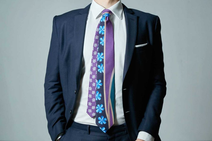 Γραβάτα fantasy - floral, Double sided, Μετάξι 100%
