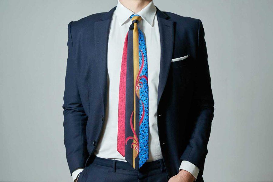 Γραβάτα με floral σχέδια, Double sided, Μετάξι 100%