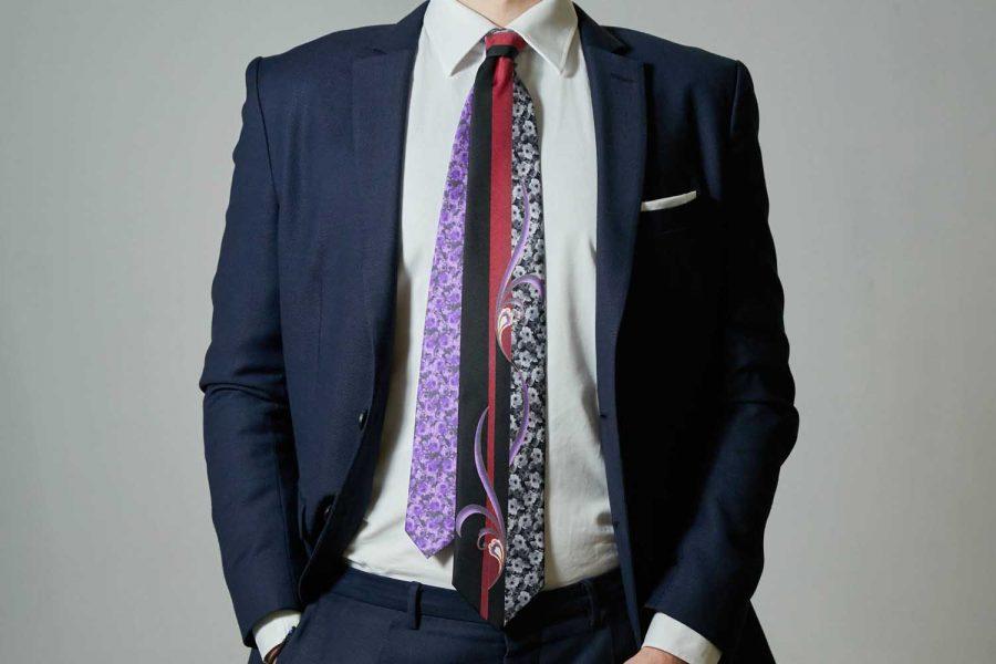 Γραβάτα floral - μονόχρωμη, Μετάξι 100%