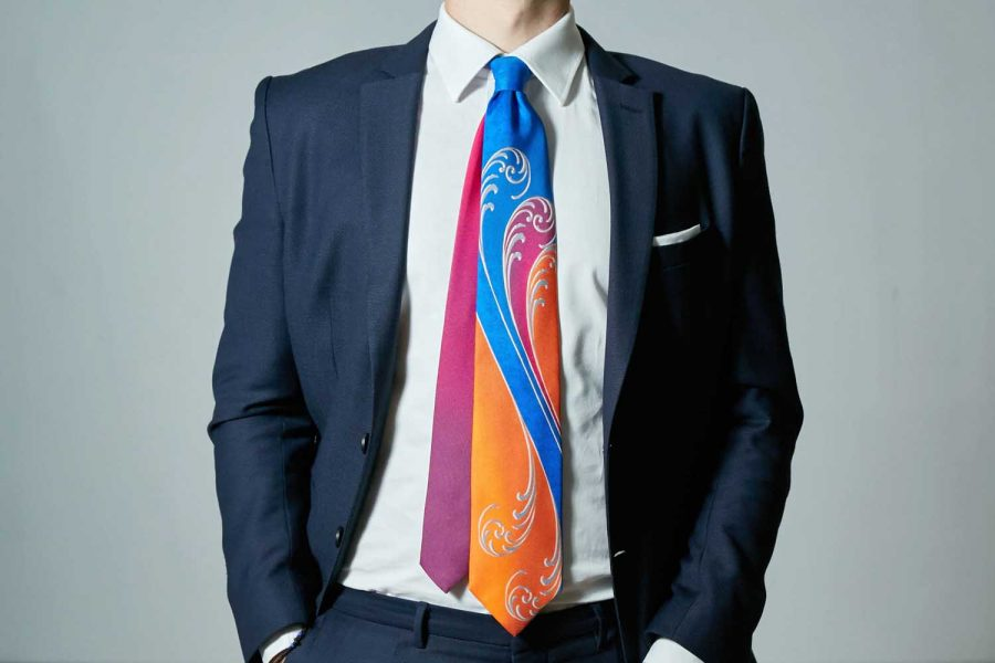 Γραβάτα Double sided, πολύχρωμη, Μετάξι 100%
