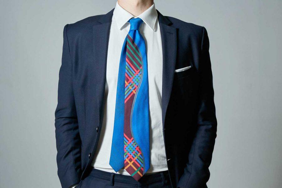 Γραβάτα καρό-fantasy, Double sided, Μετάξι 100%