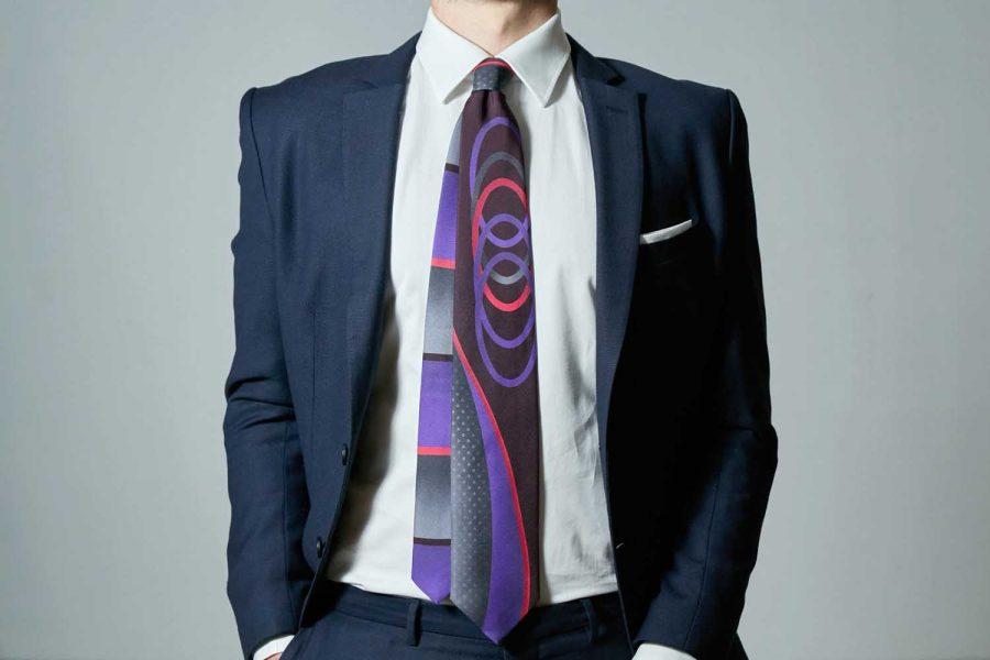 """Γραβάτα συλλεκτική """"Winter"""", Double sided, Μετάξι 100%"""