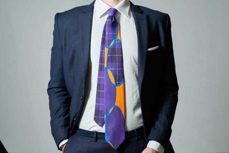 Γραβάτα πολύχρωμη, Double sided, Μετάξι 100%