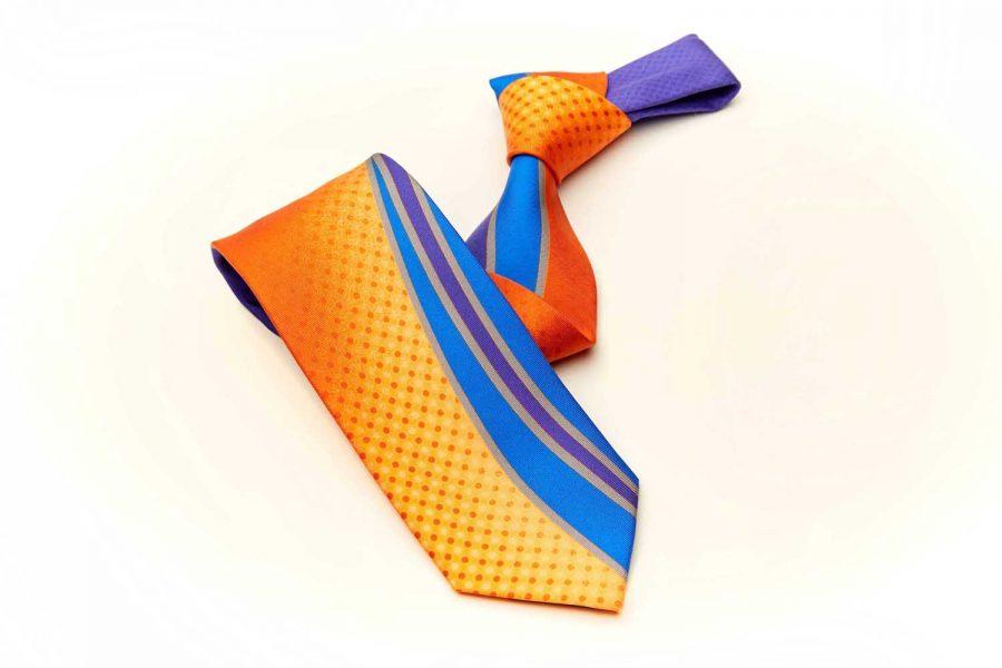Γραβάτα πολύχρωμη fantasy, Double sided, Μετάξι 100%