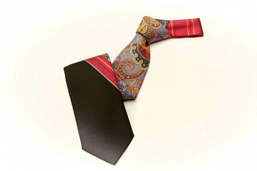 Γραβάτα μισή λαχούρι μισή μονόχρωμη, Μετάξι 100%