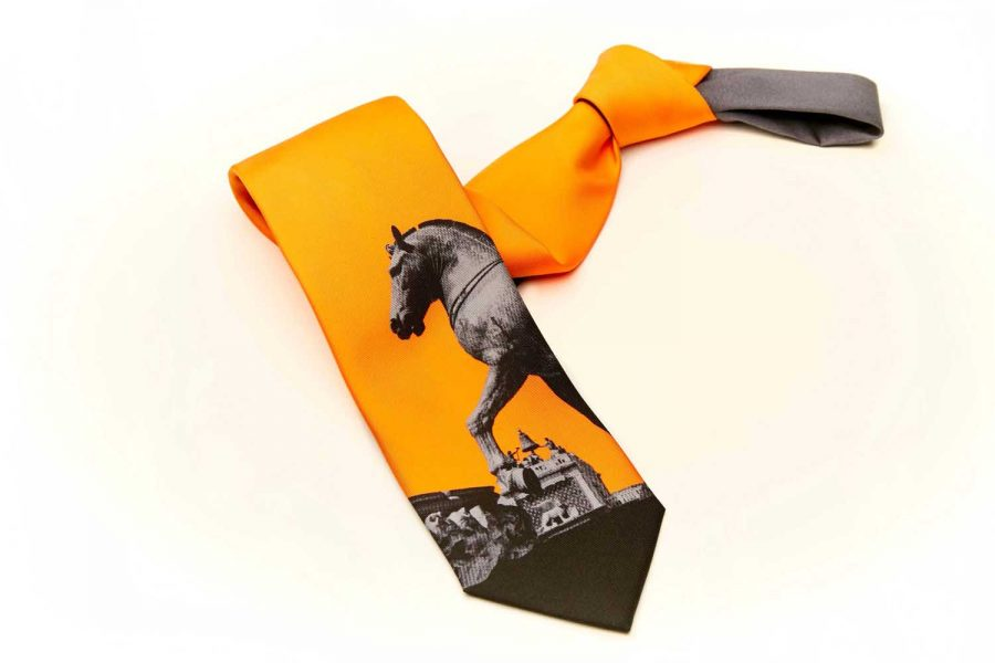 Γραβάτα πορτοκαλί με άλογο, Μετάξι 100%