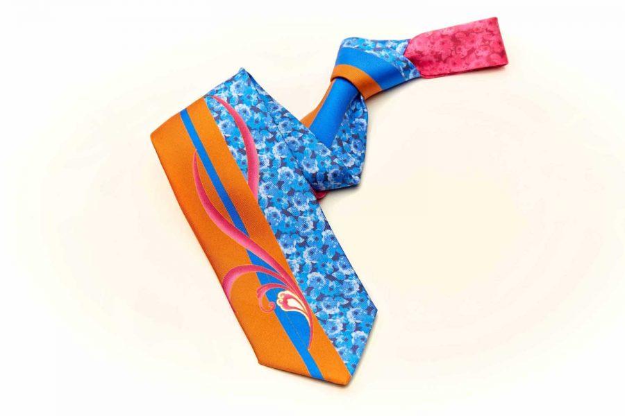 Γραβάτα λαχούρι - floral, Double sided, Μετάξι 100%